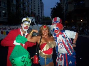 Money bags and Star Spangled Seafair clowns posing w/WonderWoman