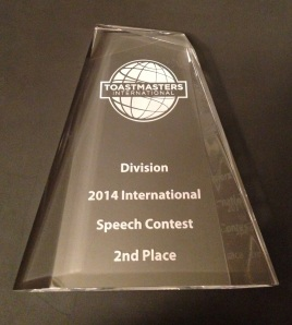 Toastmasters International Speech Contest 2nd Place
